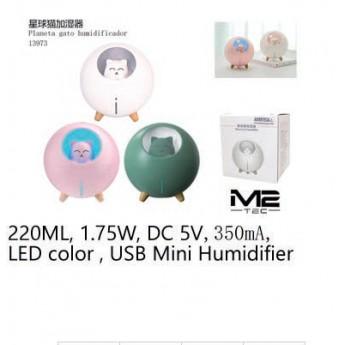 Humificador Gato Espacial 220ml, 1.75w, 5v, 350mAh, luz de led, usb