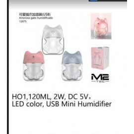 Humificador patita de gato 120ml, 2w, 5v, luz led, usb