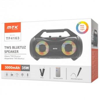 Altavoz BT 5,0 Con luz RGB, 35W 3000mAh FM/USB/TF card/Audio/Karaoke, Con Asa De Transporte, lleva Mando a Distancia, Micrófono