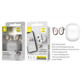 Auriculares Bluetooth TWS EARRINGS BTS 5,0 (40aMh*2)Con Estuche Recargable 300aMh, Boton Multifuncional
