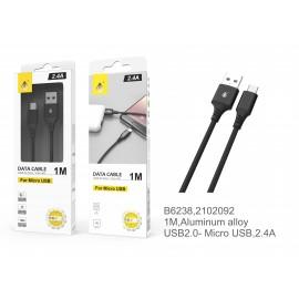 Cable de datos Aluminio S.Basic Giova para Micro USB, 2.4A, 1M