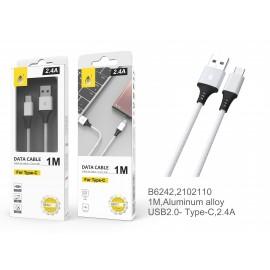 Cable de datos Aluminio S.Basic Giova para IP6/7/8/X, 2.4A, 1M
